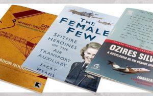 Três capas de livros sobre aviação