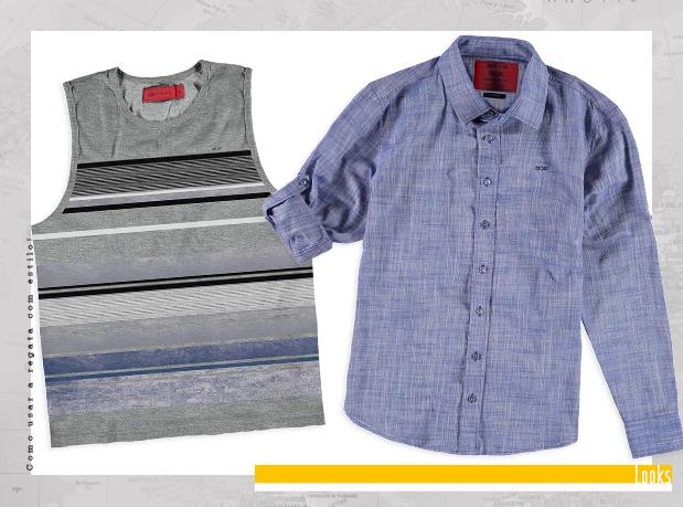 Camisa social azul e regata cinza listrada