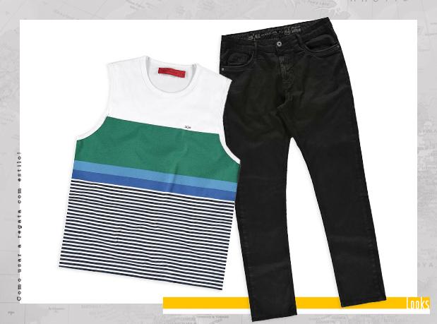 Camiseta regata de listra e calça jeans preta